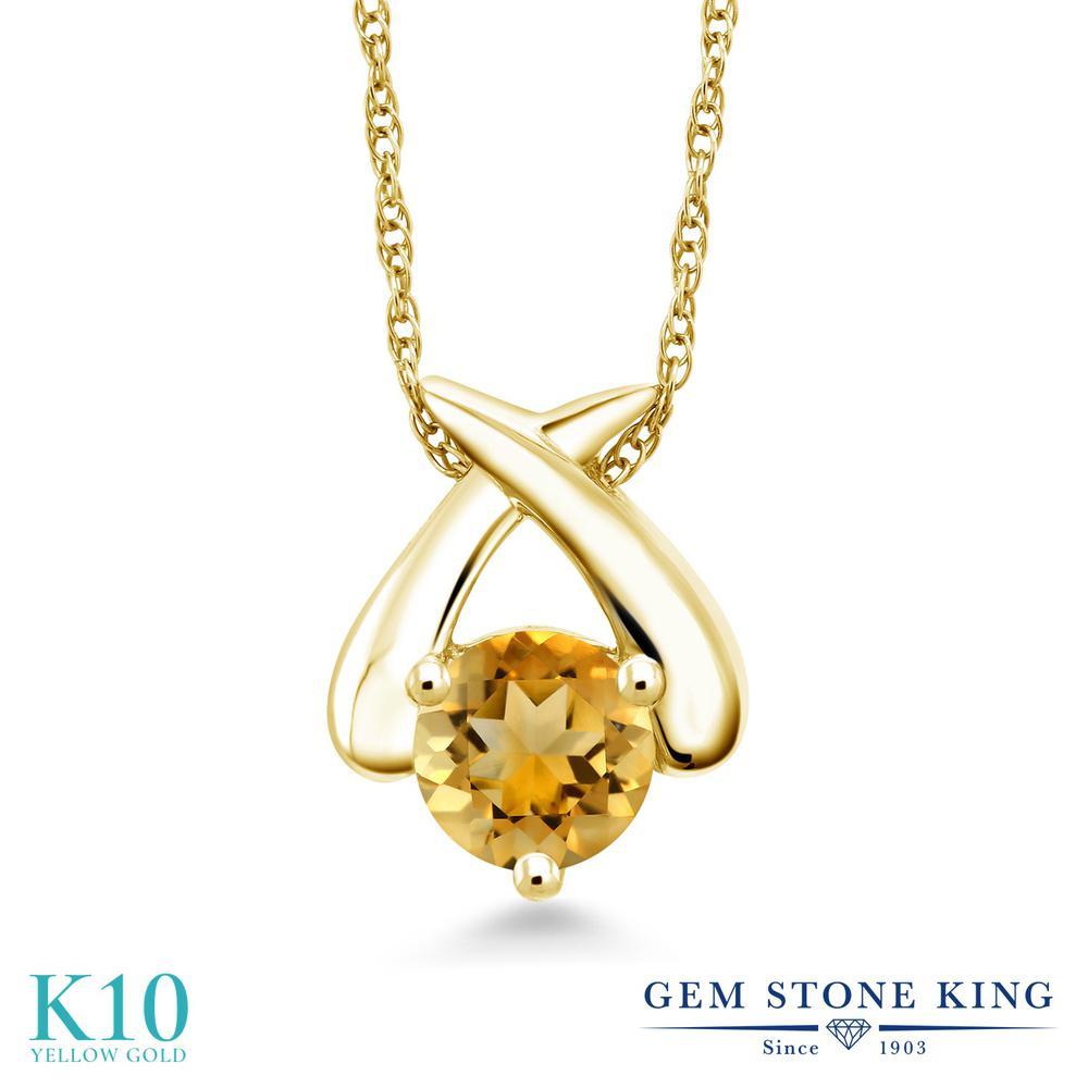 Gem Stone King 0.8カラット 天然 シトリン 10金 イエローゴールド(K10) ネックレス ペンダント レディース 一粒 シンプル 天然石 11月 誕生石 金属アレルギー対応 誕生日プレゼント
