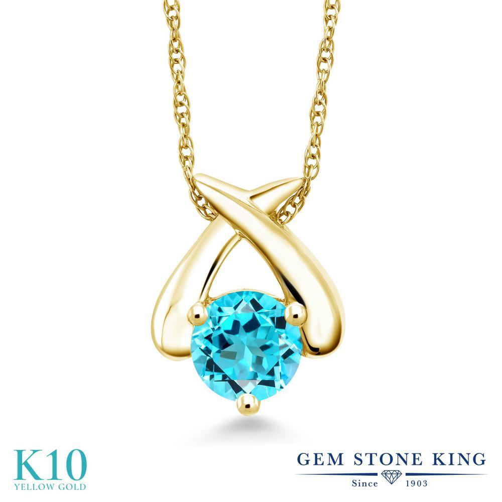 Gem Stone King 1カラット 天然 スイスブルートパーズ 10金 イエローゴールド(K10) ネックレス ペンダント レディース 大粒 一粒 シンプル 天然石 11月 誕生石 金属アレルギー対応 誕生日プレゼント