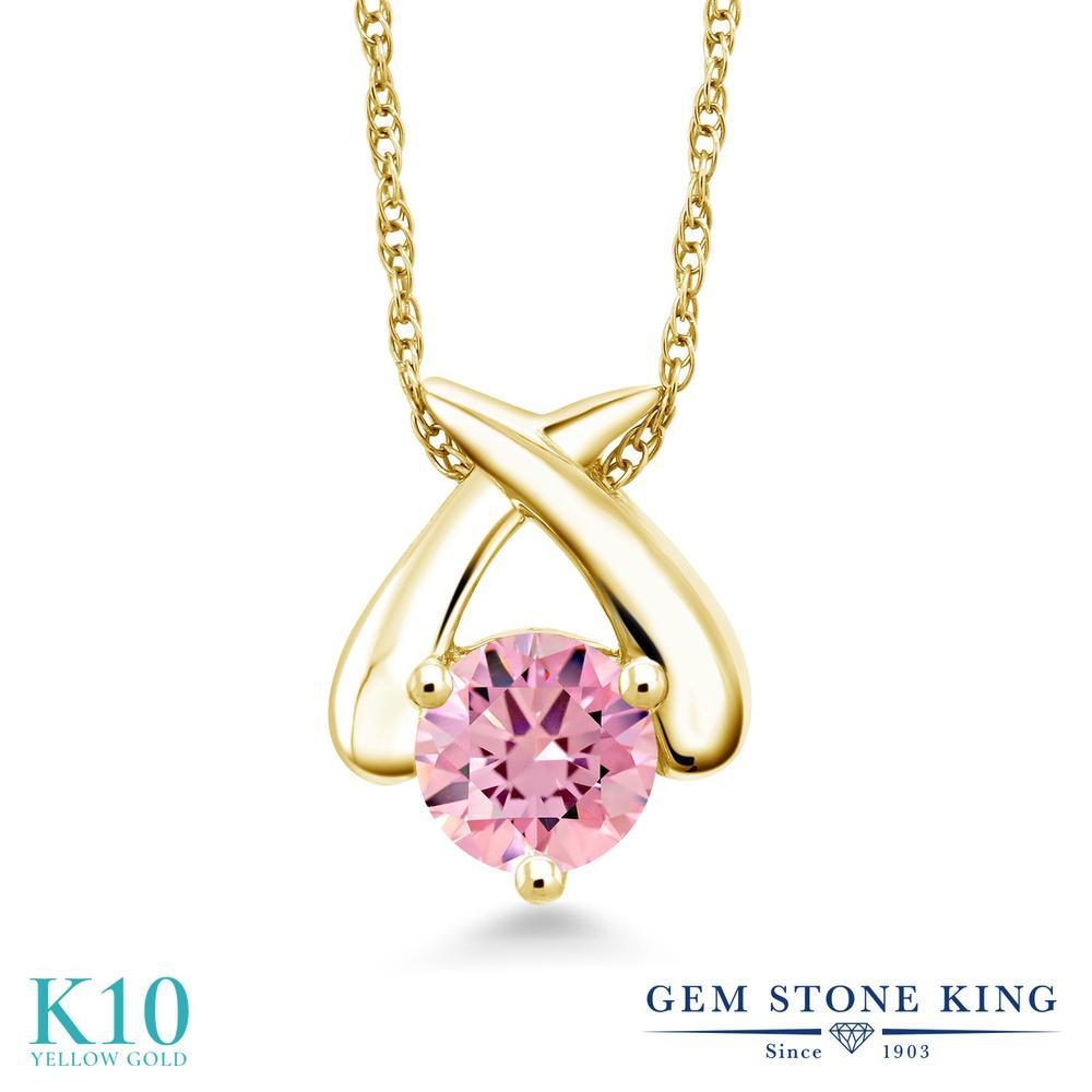 Gem Stone King ジルコニア (ピンク) 10金 イエローゴールド(K10) ネックレス ペンダント レディース CZ 大粒 一粒 シンプル 金属アレルギー対応 誕生日プレゼント