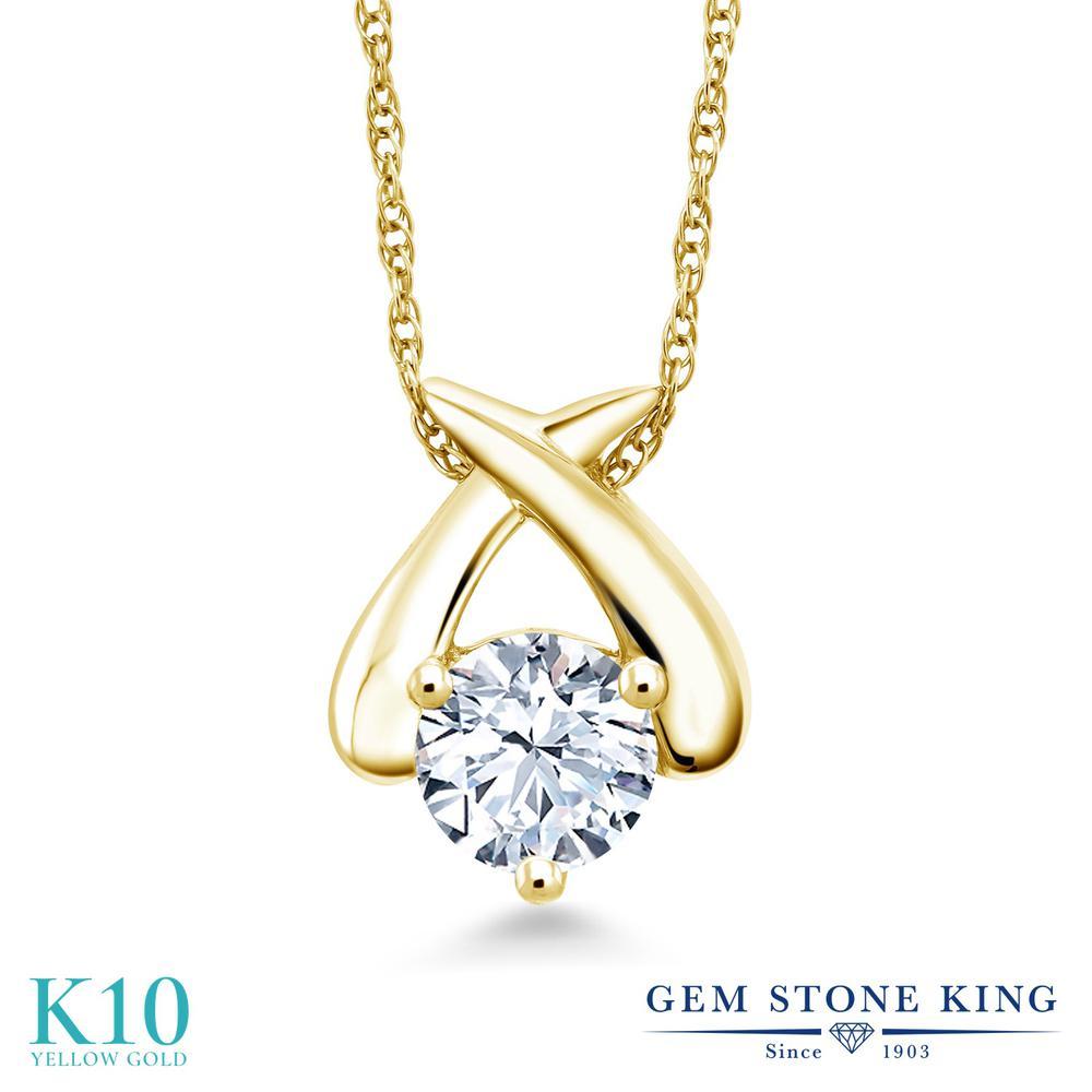 Gem Stone King 1カラット 合成ホワイトサファイア (ダイヤのような無色透明) 10金 イエローゴールド(K10) ネックレス ペンダント レディース 大粒 一粒 シンプル 金属アレルギー対応 誕生日プレゼント