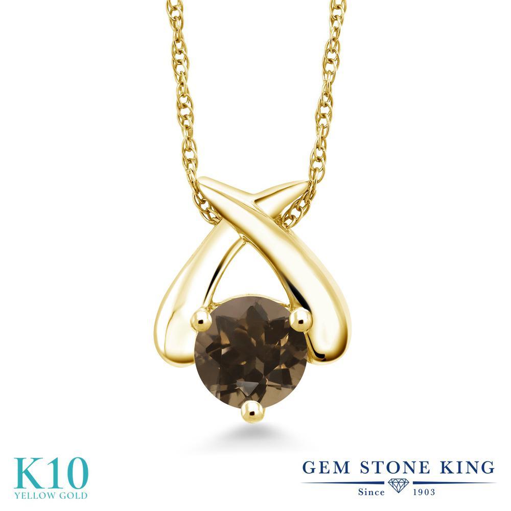 Gem Stone King 0.8カラット 天然 スモーキークォーツ (ブラウン) 10金 イエローゴールド(K10) ネックレス ペンダント レディース 一粒 シンプル 天然石 金属アレルギー対応 誕生日プレゼント