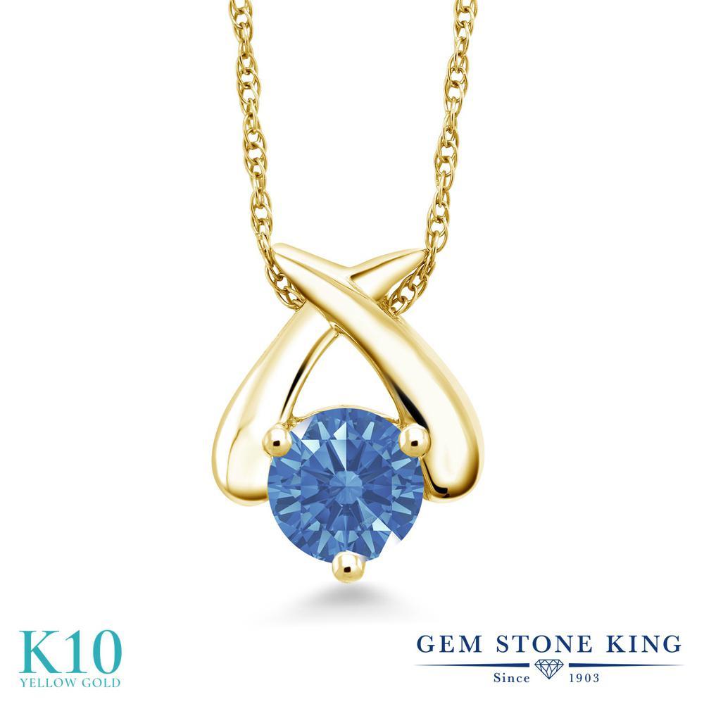 Gem Stone King スワロフスキージルコニア (ファンシーブルー) 10金 イエローゴールド(K10) ネックレス ペンダント レディース CZ 一粒 シンプル 金属アレルギー対応 誕生日プレゼント