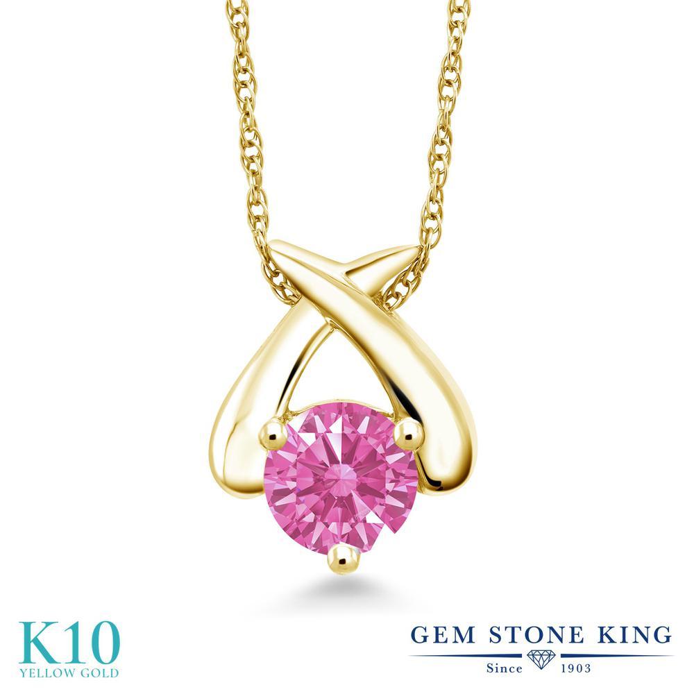 Gem Stone King スワロフスキージルコニア (ピンク) 10金 イエローゴールド(K10) ネックレス ペンダント レディース CZ 一粒 シンプル 金属アレルギー対応 誕生日プレゼント