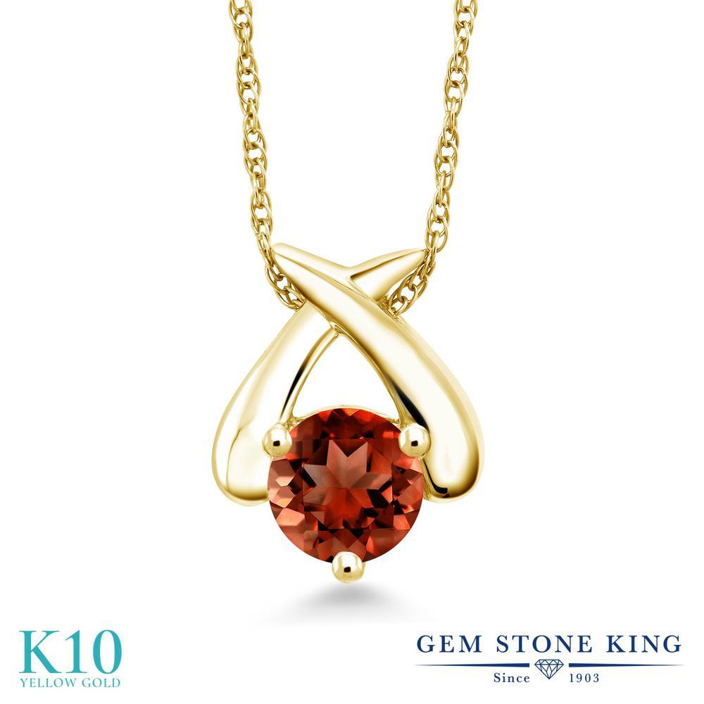 Gem Stone King 1カラット 天然 ガーネット 10金 イエローゴールド(K10) ネックレス ペンダント レディース 大粒 一粒 シンプル 天然石 1月 誕生石 金属アレルギー対応 誕生日プレゼント