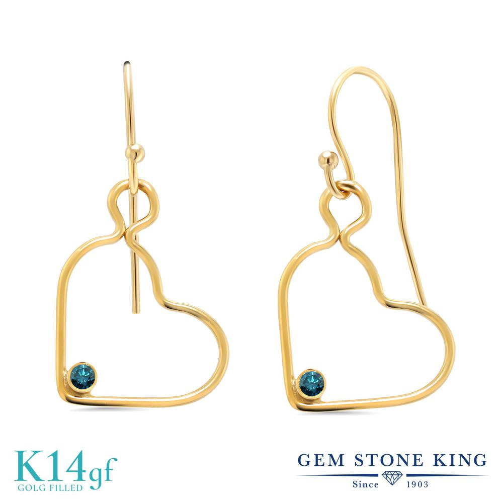 Gem Stone King 0.07カラット 天然 ブルーダイヤモンド ピアス レディース ブルー ダイヤ 小粒 シンプル ぶら下がり フレンチワイヤー 天然石 4月 誕生石 金属アレルギー対応 誕生日プレゼント