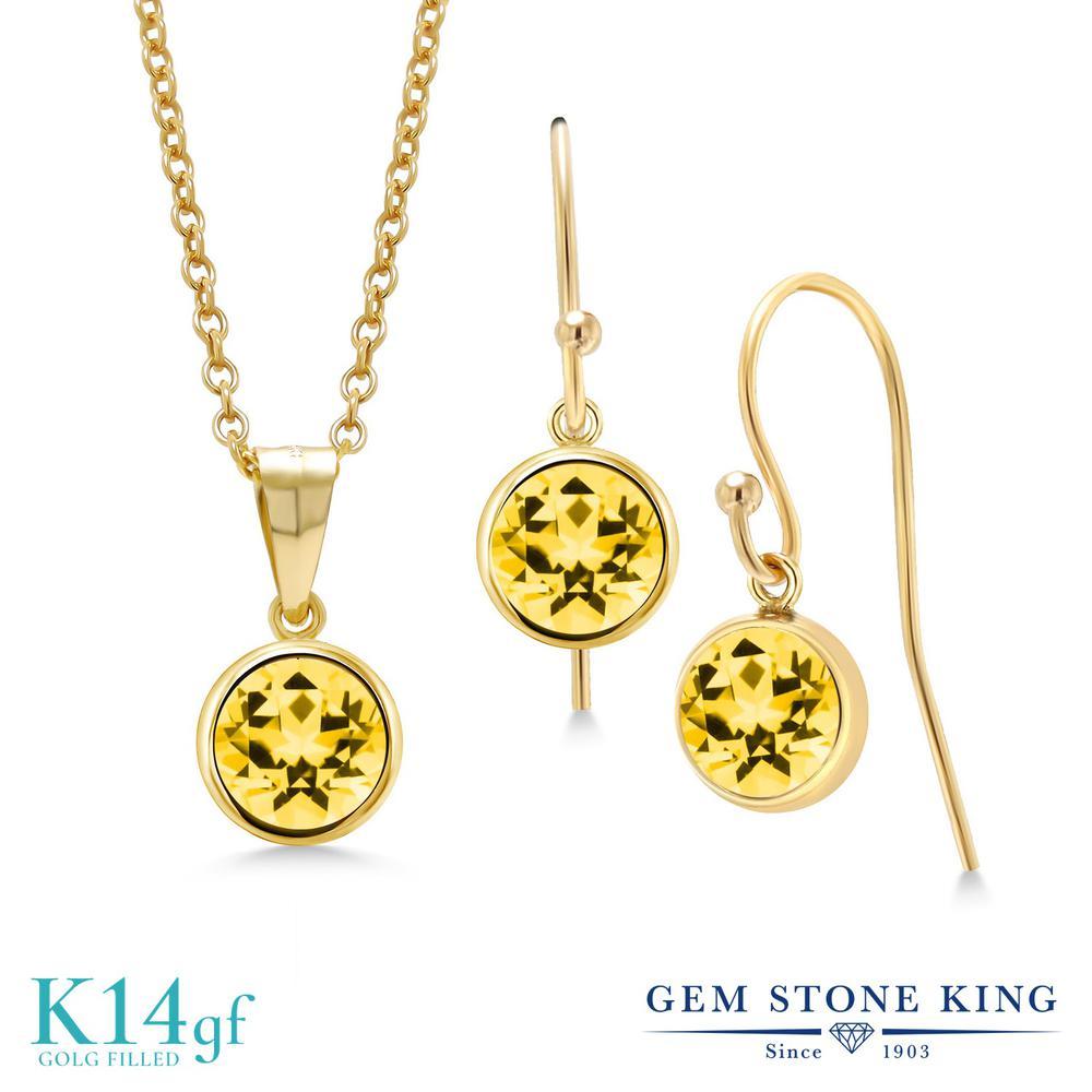 Gem Stone King 3カラット 天然石 トパーズ ハニースワロフスキー ペンダント&ピアスセット レディース 大粒 シンプル フレンチワイヤー 天然石 金属アレルギー対応 誕生日プレゼント