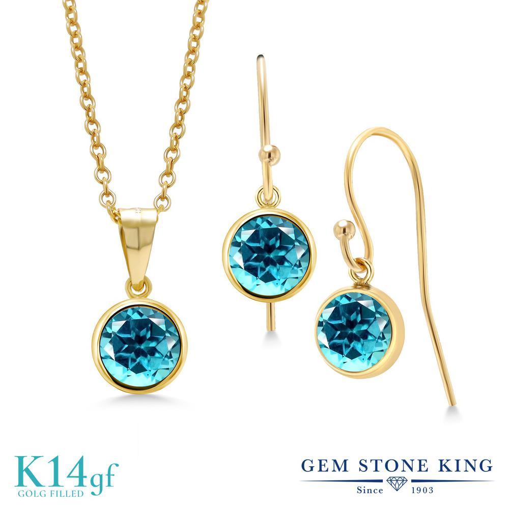 Gem Stone King 3カラット 天然石 パライバトパーズ (スワロフスキー 天然石シリーズ) ペンダント&ピアスセット レディース 大粒 シンプル フレンチワイヤー 天然石 金属アレルギー対応 誕生日プレゼント