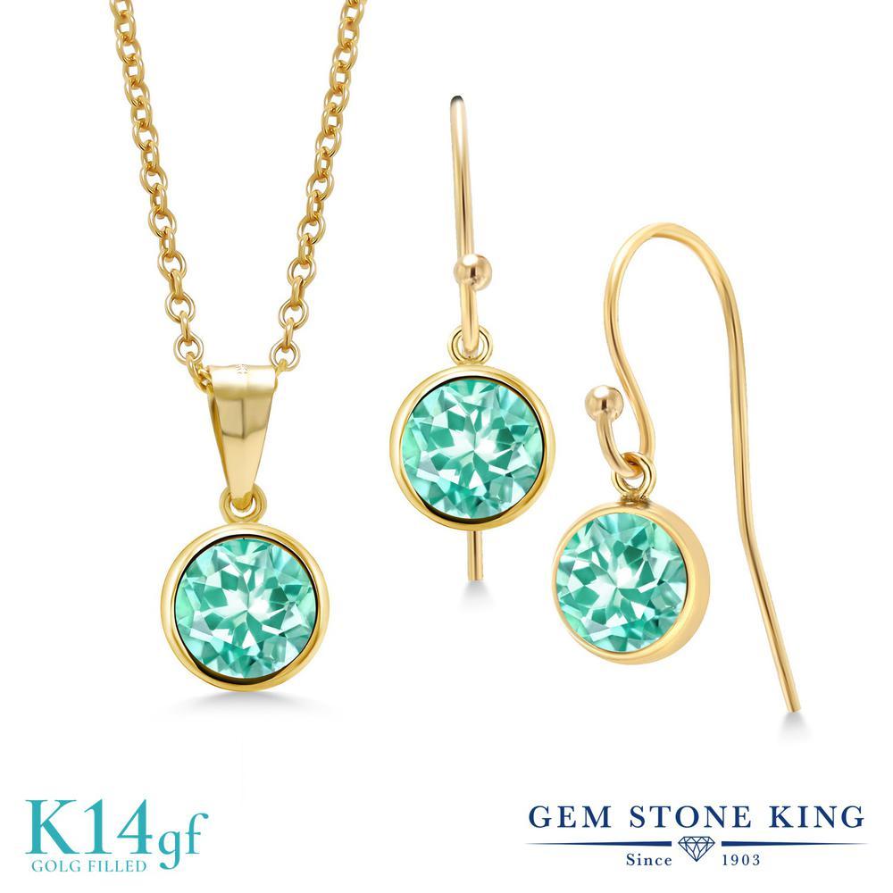 Gem Stone King 2.45カラット 天然 アパタイト ペンダント&ピアスセット レディース シンプル フレンチワイヤー 天然石 金属アレルギー対応 誕生日プレゼント