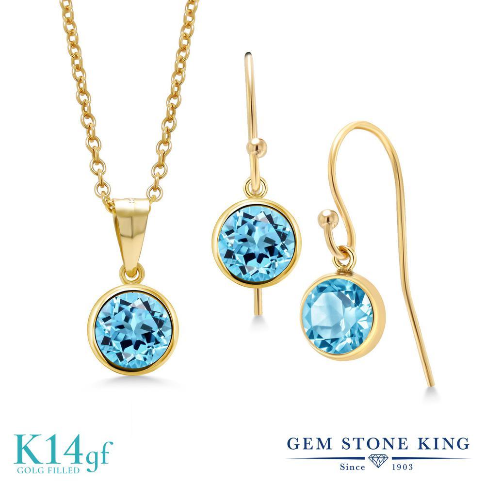 Gem Stone King 3カラット 天然 スイスブルートパーズ ペンダント&ピアスセット レディース 大粒 シンプル フレンチワイヤー 天然石 11月 誕生石 金属アレルギー対応 誕生日プレゼント