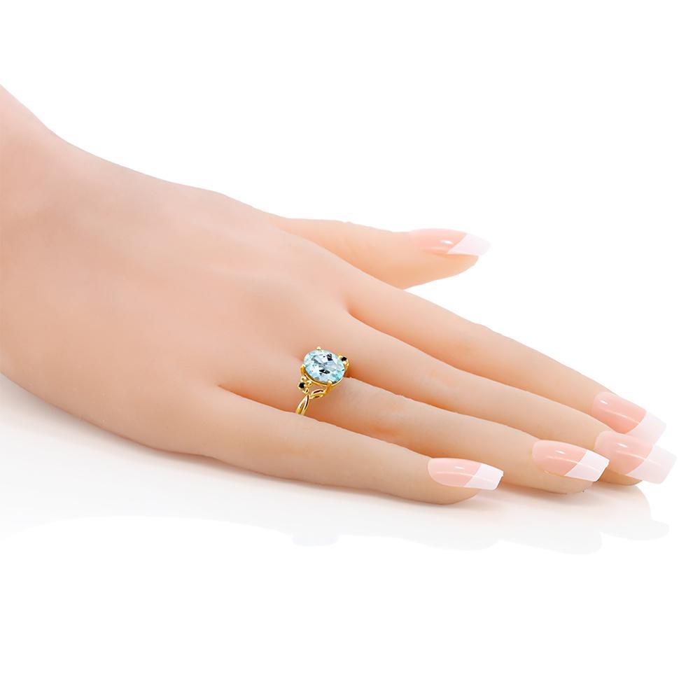 3 03カラット 天然 スカイブルートパーズ 指輪 レディース リング ブラックダイヤモンド イエローゴールド 加工 シルバー925 ブランド おしゃれ 水色 大粒 シンプル 天然石 11月 誕生石 金属アレルギー対応QsdrtCh