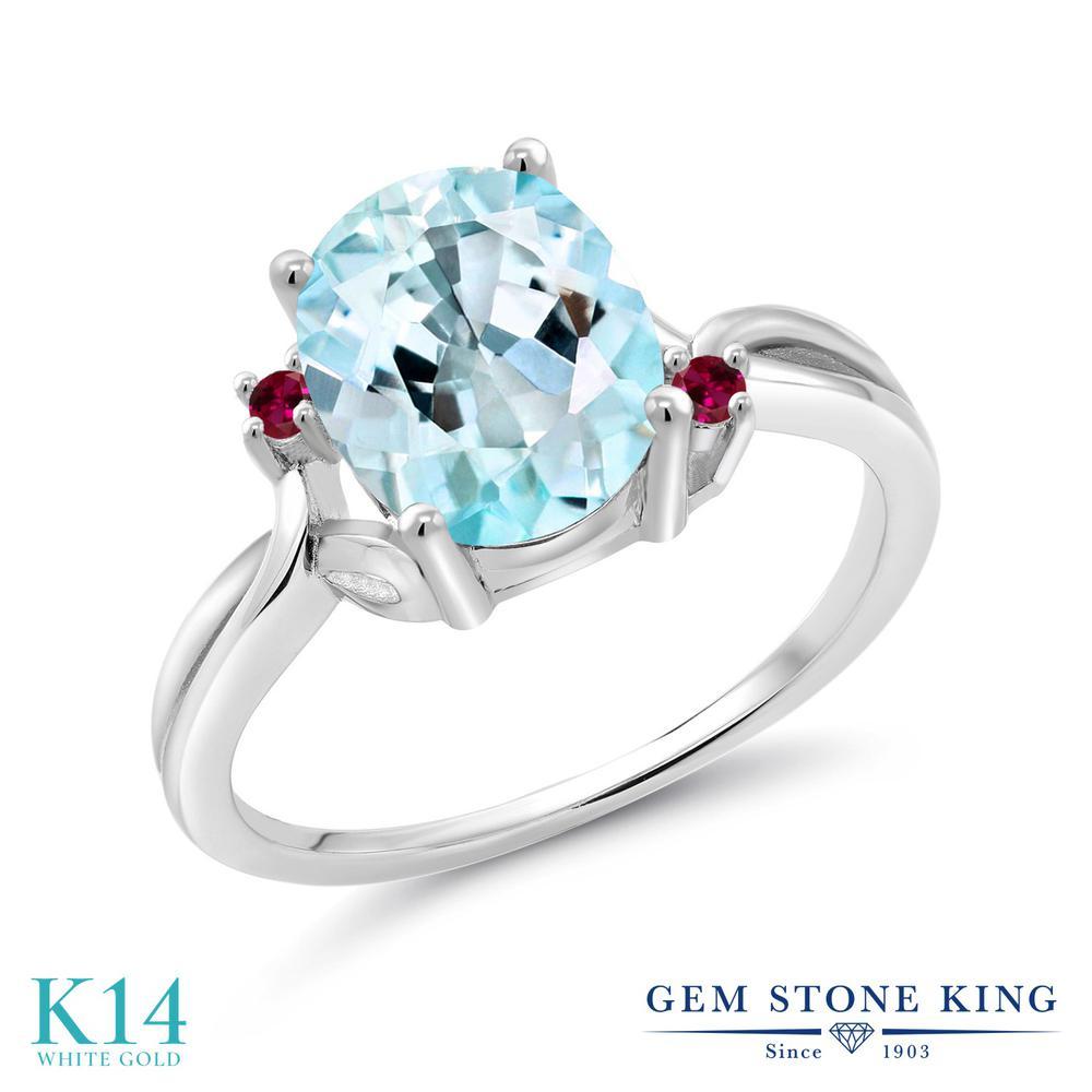 Gem Stone King 3.03カラット 天然 スカイブルートパーズ 合成ルビー 14金 ホワイトゴールド(K14) 指輪 リング レディース 大粒 シンプル 天然石 11月 誕生石 金属アレルギー対応 誕生日プレゼント