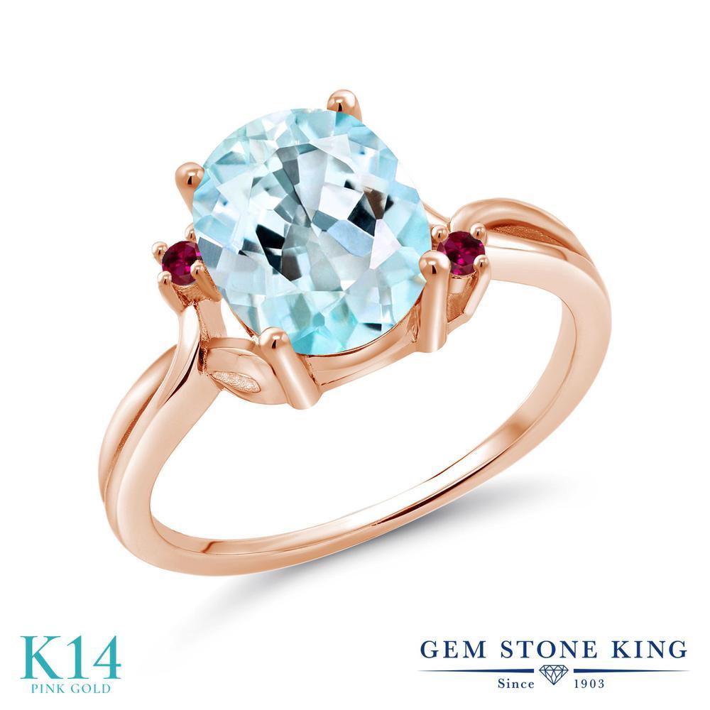 Gem Stone King 3.03カラット 天然 スカイブルートパーズ 合成ルビー 14金 ピンクゴールド(K14) 指輪 リング レディース 大粒 シンプル 天然石 11月 誕生石 金属アレルギー対応 誕生日プレゼント
