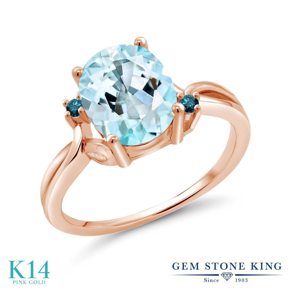 Gem Stone King 3.03カラット 天然 スカイブルートパーズ 天然 ブルーダイヤモンド 14金 ピンクゴールド(K14) 指輪 リング レディース 大粒 シンプル 天然石 11月 誕生石 金属アレルギー対応 誕生日プレゼント
