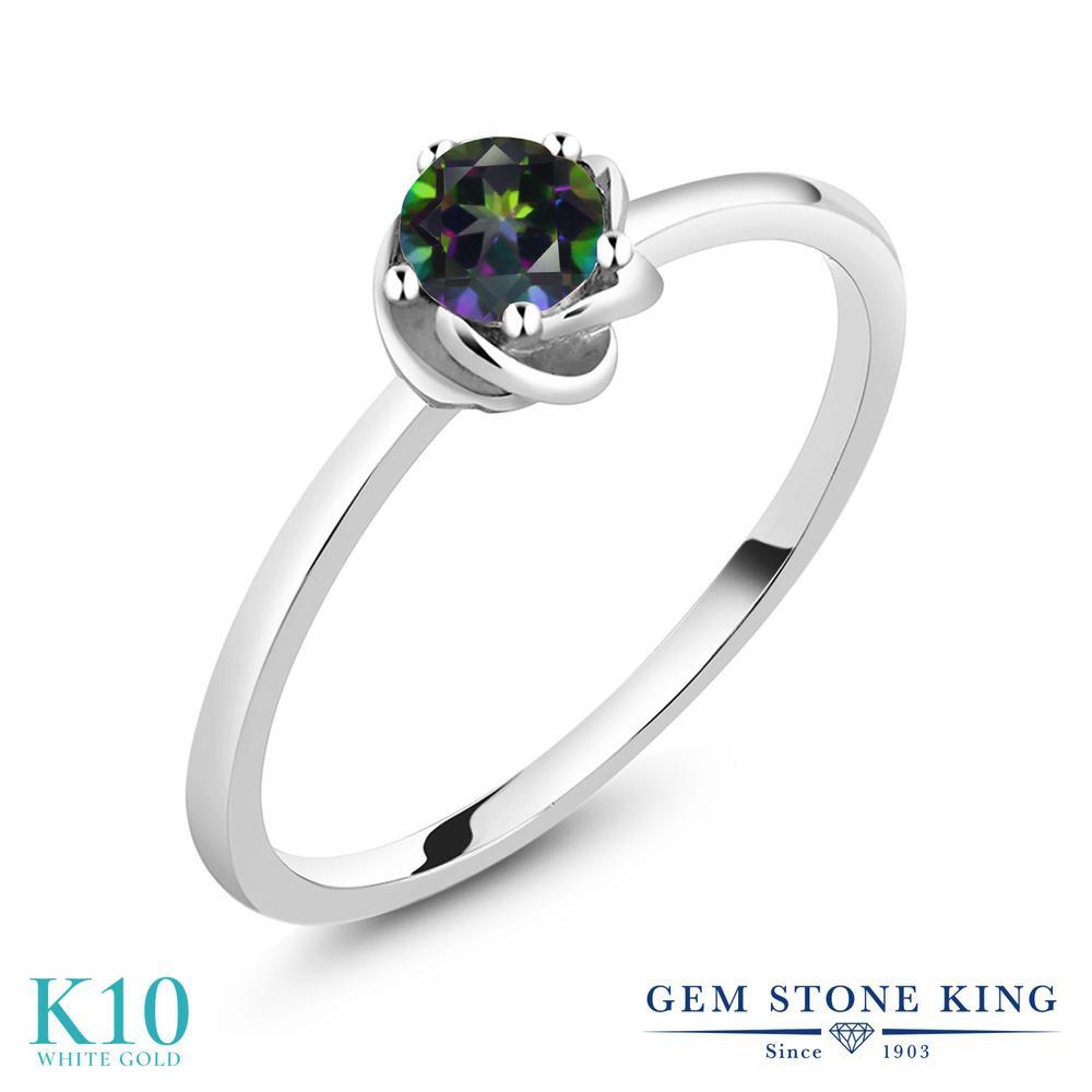 0.55カラット 天然石 ミスティックトパーズ (グリーン) 指輪 リング レディース 10金 ホワイトゴールド K10 一粒 シンプル 金属アレルギー対応