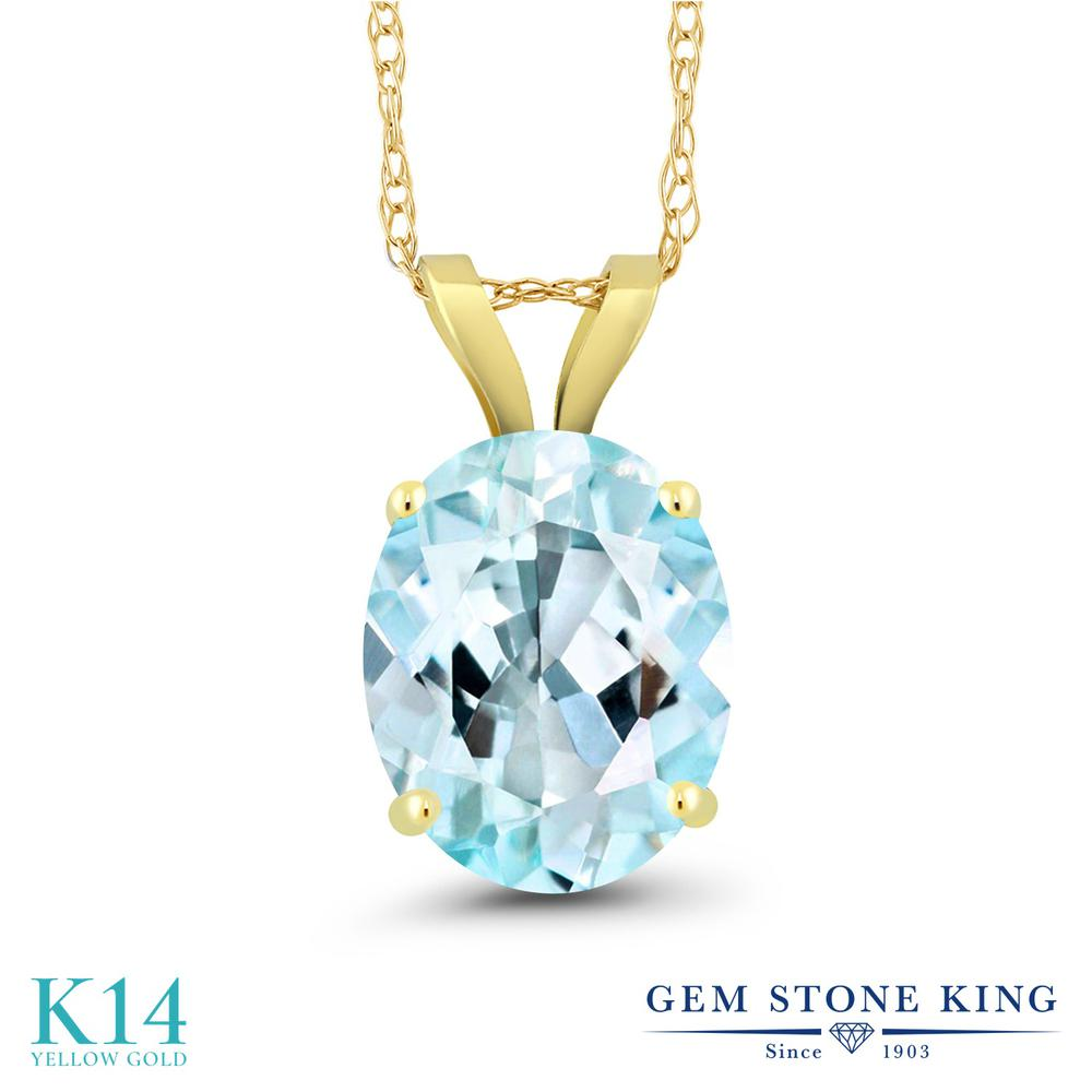 【クーポンで7%OFF】 Gem Stone King 3カラット 天然 スカイブルートパーズ 14金 イエローゴールド(K14) ネックレス ペンダント レディース 大粒 一粒 シンプル 天然石 11月 誕生石 プレゼント 女性 彼女 誕生日 クリスマス