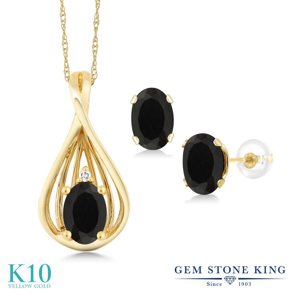 Gem Stone King 1.21カラット 天然 オニキス 天然 ダイヤモンド 10金 イエローゴールド(K10) ペンダント&ピアスセット レディース 小粒 天然石 8月 誕生石 金属アレルギー対応 誕生日プレゼント