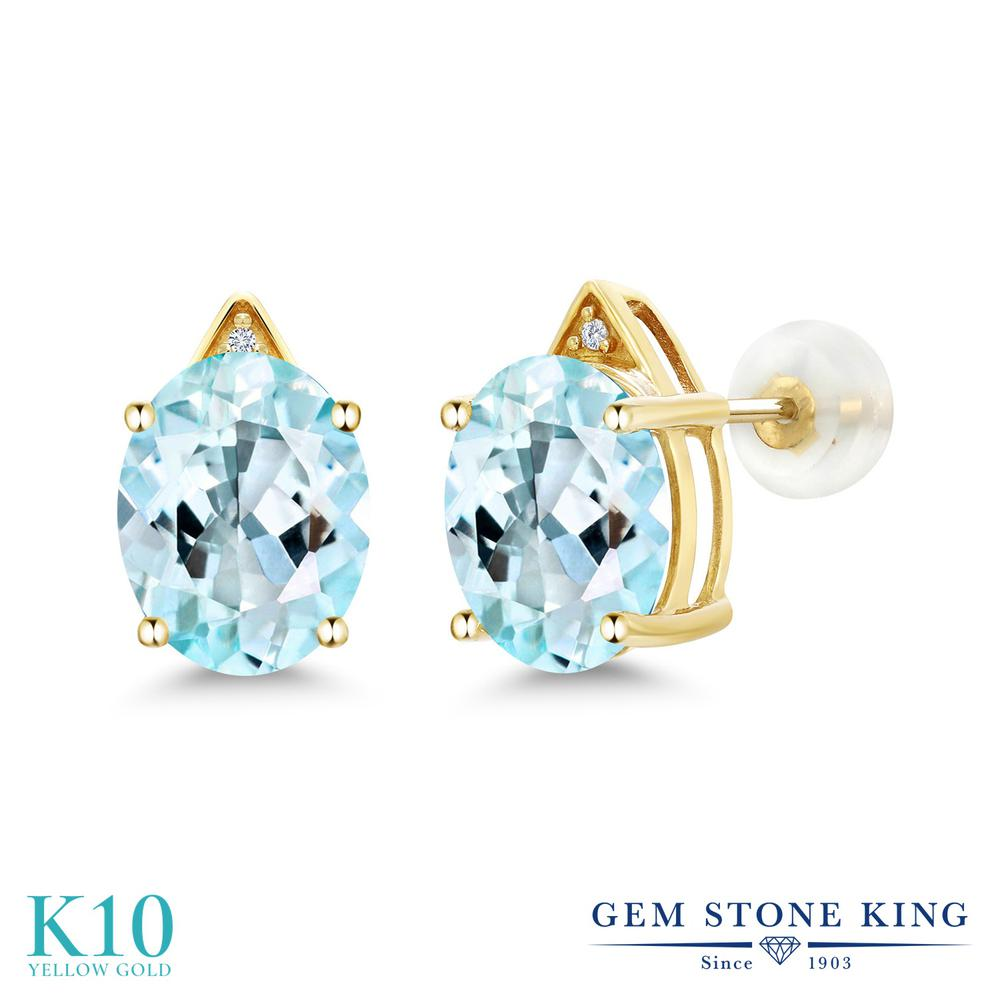 Gem Stone King 6.01カラット 天然 スカイブルートパーズ 天然 ダイヤモンド 10金 イエローゴールド(K10) ピアス レディース 大粒 スタッド 天然石 11月 誕生石 金属アレルギー対応 誕生日プレゼント