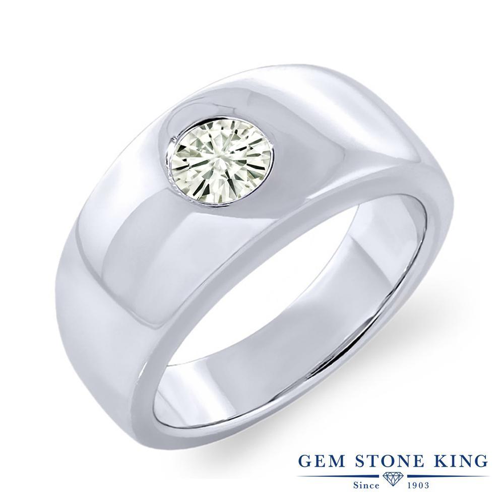Gem Stone King 0.8カラット Forever Classic モアサナイト Charles & Colvard シルバー925 指輪 リング レディース モアッサナイト 一粒 シンプル 金属アレルギー対応 誕生日プレゼント
