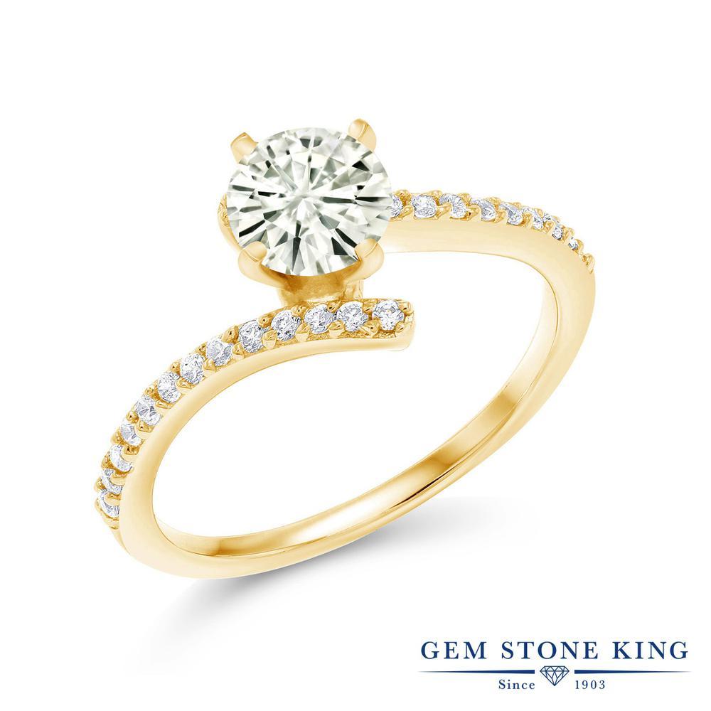 【10%OFF】 Gem Stone King 1.06カラット Forever Classic モアサナイト Charles & Colvard 指輪 リング レディース シルバー925 イエローゴールド 加工 モアッサナイト バイパス クリスマスプレゼント 女性 彼女 妻 誕生日