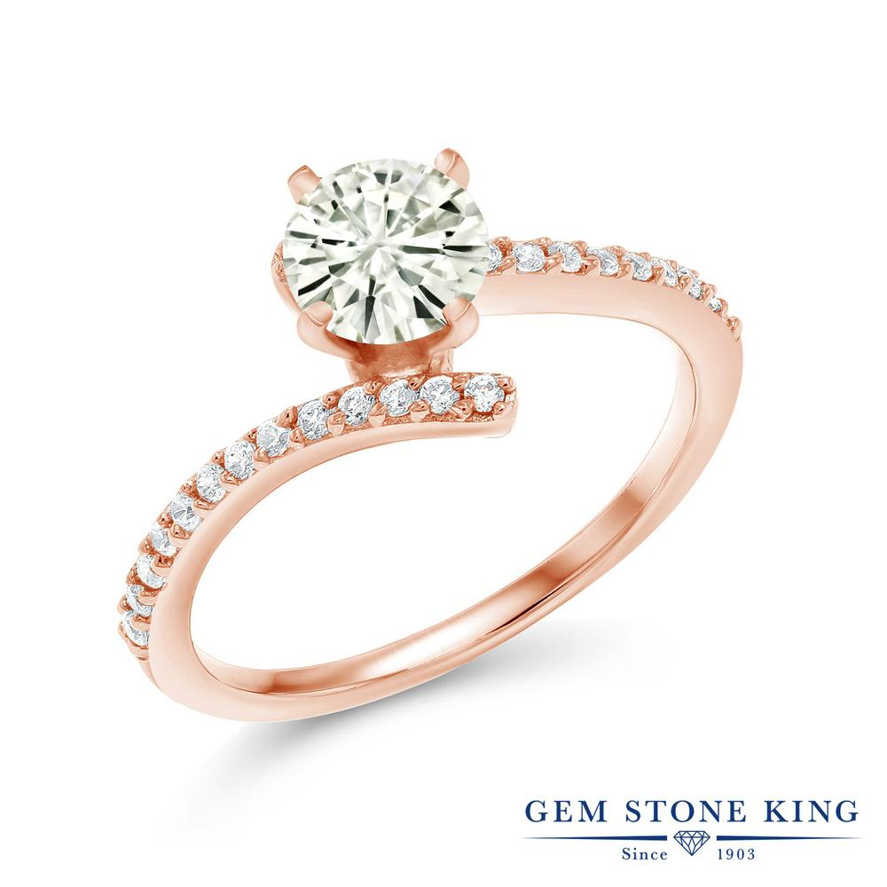 Gem Stone King 1.06カラット Forever Classic モアサナイト Charles & Colvard シルバー925 ピンクゴールドコーティング 指輪 リング レディース モアッサナイト バイパス 金属アレルギー対応 誕生日プレゼント