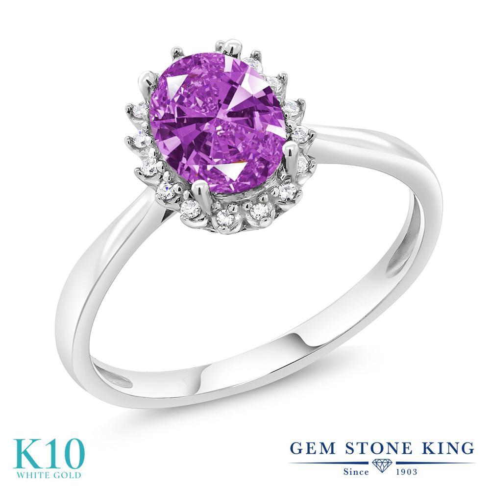 Gem Stone King スワロフスキージルコニア (ファンシーパープル) 10金 ホワイトゴールド(K10) 指輪 リング レディース CZ 大粒 一粒 シンプル ヘイロー 金属アレルギー対応 誕生日プレゼント