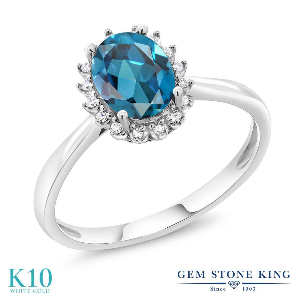 Gem Stone King 1.5カラット 天然 ロンドンブルートパーズ 10金 ホワイトゴールド(K10) 指輪 リング レディース 大粒 一粒 シンプル ヘイロー 天然石 11月 誕生石 金属アレルギー対応 誕生日プレゼント