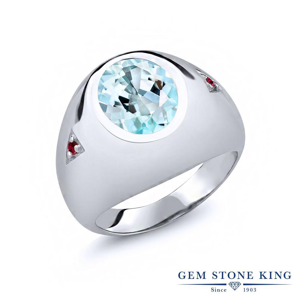Gem Stone King 6.1カラット 天然 スカイブルートパーズ 合成ルビー 指輪 リング レディース シルバー925 大粒 シンプル 天然石 11月 誕生石 金属アレルギー対応