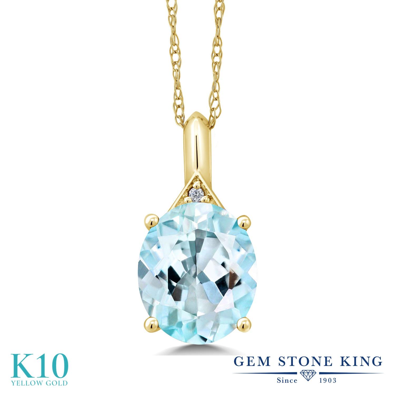 Gem Stone King 6.02カラット 天然 スカイブルートパーズ 天然 ダイヤモンド 10金 イエローゴールド(K10) ネックレス ペンダント レディース 大粒 シンプル 天然石 誕生石 金属アレルギー対応 誕生日プレゼント