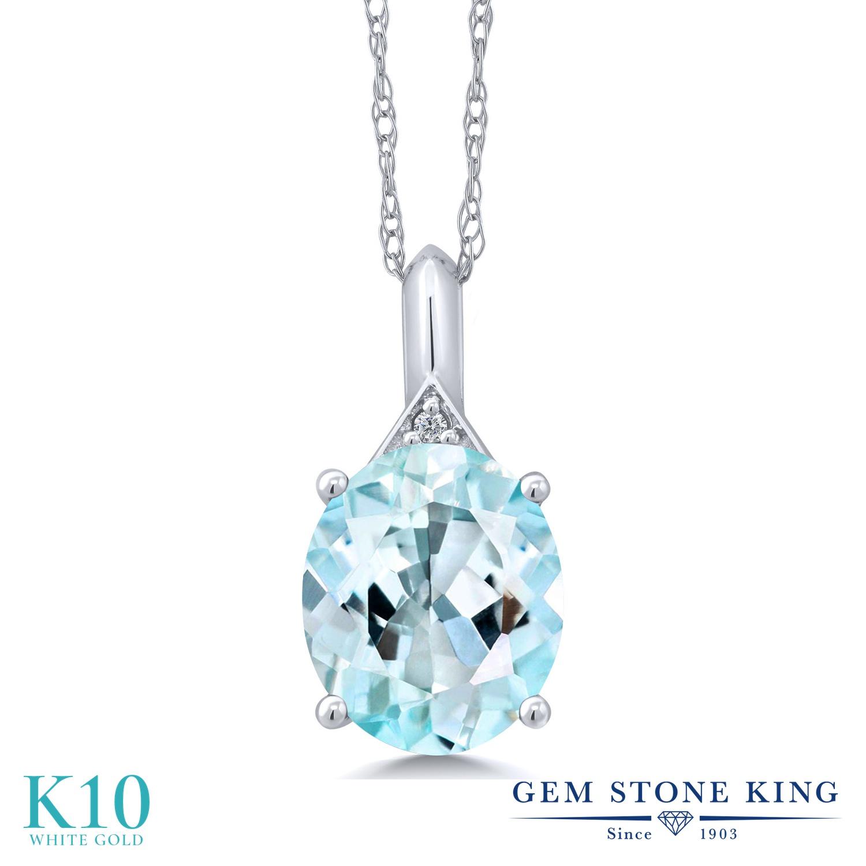 Gem Stone King 6.02カラット 天然 スカイブルートパーズ 天然 ダイヤモンド 10金 ホワイトゴールド(K10) ネックレス ペンダント レディース 大粒 シンプル 天然石 11月 誕生石 金属アレルギー対応 誕生日プレゼント