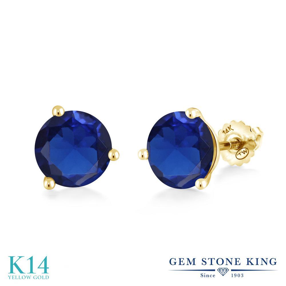 Gem Stone King 5カラット シミュレイテッド サファイア 14金 イエローゴールド(K14) ピアス レディース 大粒 シンプル スクリュー 金属アレルギー対応 誕生日プレゼント