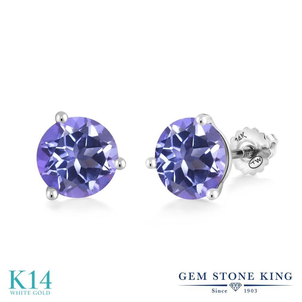 Gem Stone King 4カラット 天然 ミスティックトパーズ (タンザナイトブルー) 14金 ホワイトゴールド(K14) ピアス レディース 大粒 シンプル スクリュー 天然石 金属アレルギー対応 誕生日プレゼント
