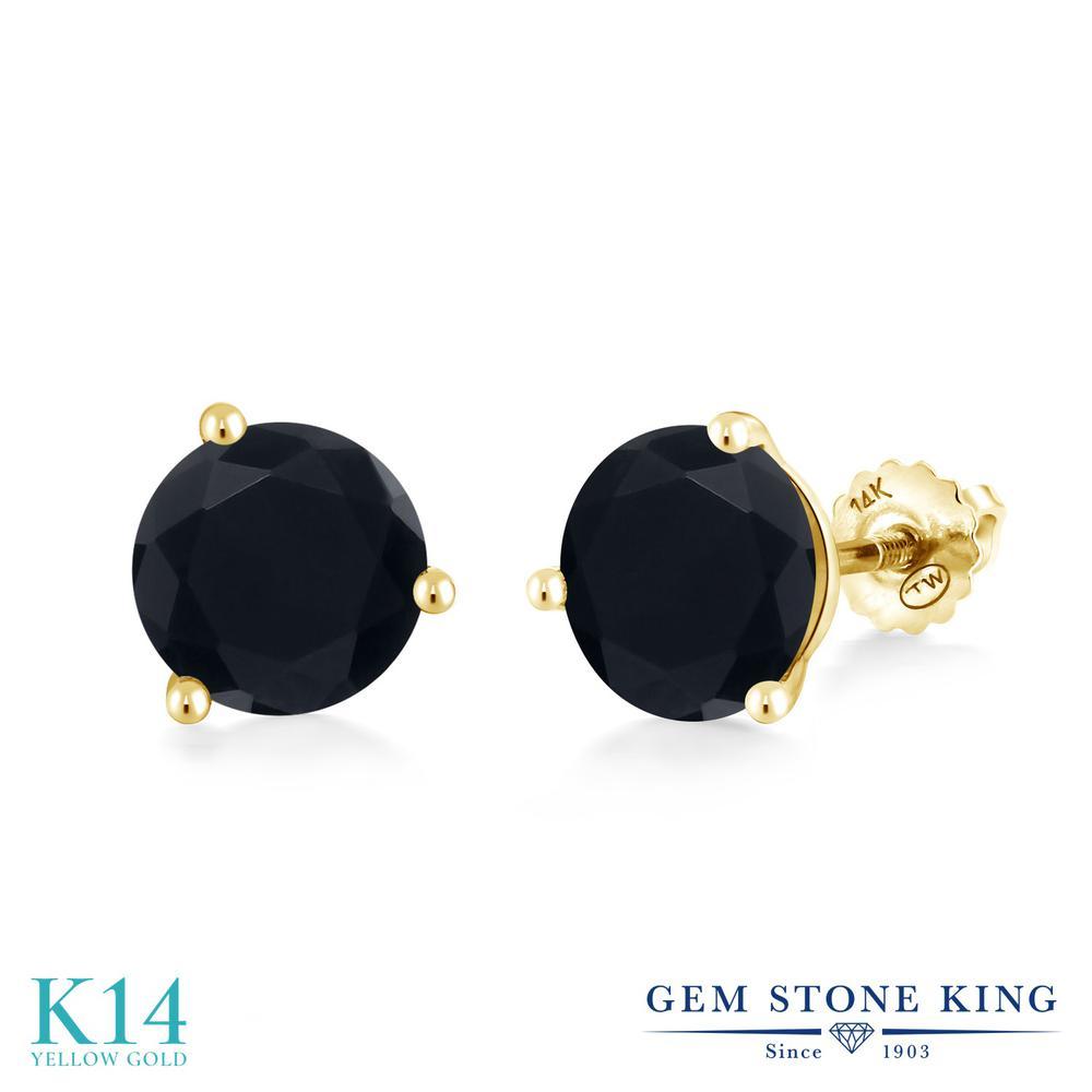 Gem Stone King 3.29カラット 天然 オニキス 14金 イエローゴールド(K14) ピアス レディース 大粒 シンプル スクリュー 天然石 8月 誕生石 金属アレルギー対応 誕生日プレゼント