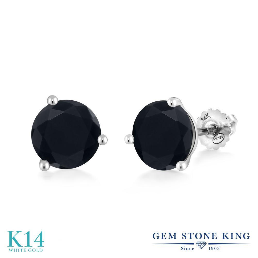 Gem Stone King 3.29カラット 天然 オニキス 14金 ホワイトゴールド(K14) ピアス レディース 大粒 シンプル スクリュー 天然石 8月 誕生石 金属アレルギー対応 誕生日プレゼント