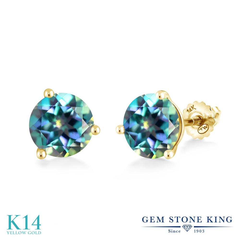 Gem Stone King 4カラット 天然 ミスティックトパーズ (ミレニアムブルー) 14金 イエローゴールド(K14) ピアス レディース 大粒 シンプル スクリュー 天然石 金属アレルギー対応 誕生日プレゼント