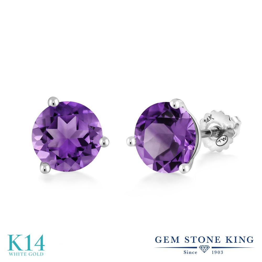 Gem Stone King 3.4カラット 天然 アメジスト 14金 ホワイトゴールド(K14) ピアス レディース 大粒 シンプル スクリュー 天然石 2月 誕生石 金属アレルギー対応 誕生日プレゼント