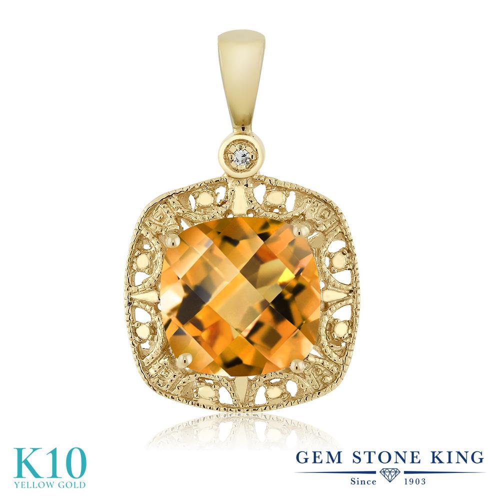 Gem Stone King 2カラット 天然 シトリン 天然 ダイヤモンド 10金 イエローゴールド(K10) ネックレス ペンダント レディース 大粒 シンプル 天然石 11月 誕生石 金属アレルギー対応 誕生日プレゼント