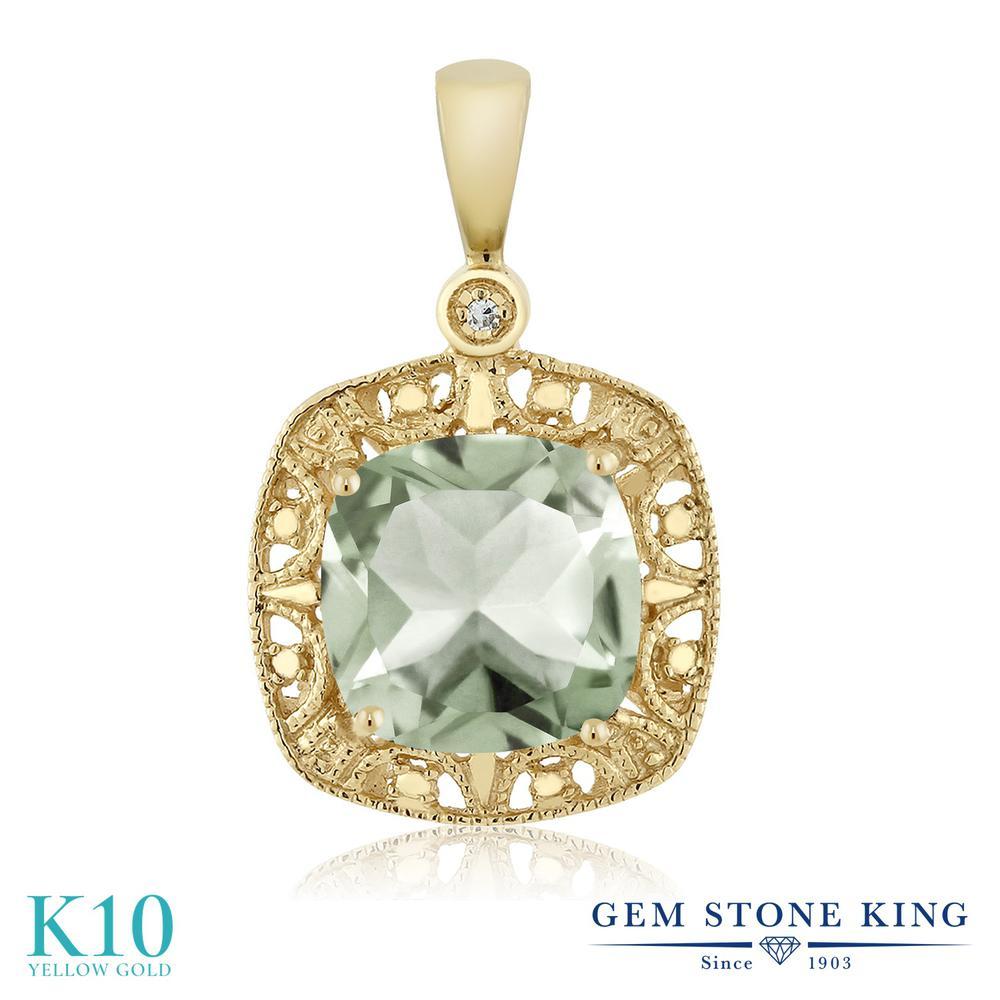Gem Stone King 2.05カラット 天然 プラジオライト (グリーンアメジスト) 天然 ダイヤモンド 10金 イエローゴールド(K10) ネックレス ペンダント レディース 大粒 シンプル 天然石 金属アレルギー対応 誕生日プレゼント