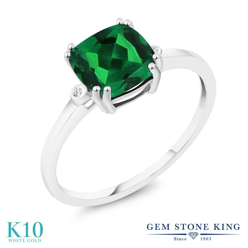 Gem Stone King 2.5カラット ナノエメラルド 天然 ダイヤモンド 10金 ホワイトゴールド(K10) 指輪 リング レディース 大粒 シンプル 金属アレルギー対応 誕生日プレゼント