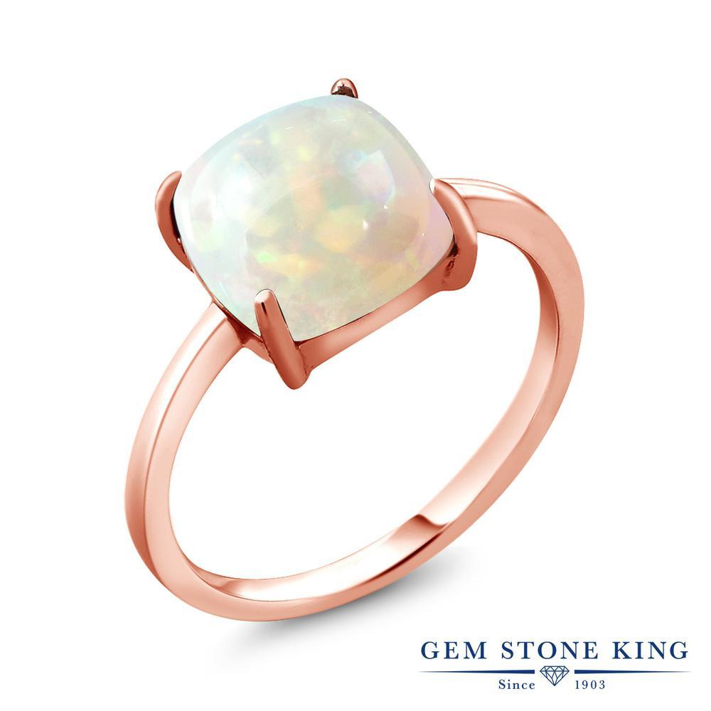 Gem Stone King 2.58カラット 天然 エチオピアンオパール シルバー925 ピンクゴールドコーティング 指輪 リング レディース 大粒 一粒 シンプル ソリティア 天然石 金属アレルギー対応 誕生日プレゼント