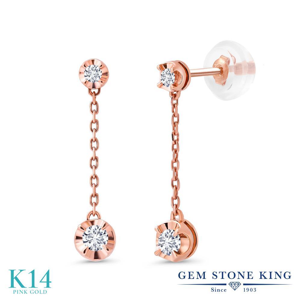 Gem Stone King 0.21カラット 合成ダイヤモンド 14金 ピンクゴールド(K14) ピアス レディース ダイヤ 小粒 華奢 細身 金属アレルギー対応 誕生日プレゼント