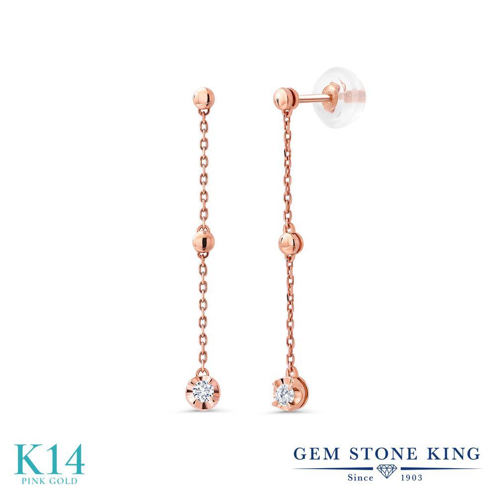 Gem Stone King 0.08カラット 合成ダイヤモンド 14金 ピンクゴールド(K14) ピアス レディース ダイヤ 小粒 シンプル 華奢 細身 金属アレルギー対応 誕生日プレゼント