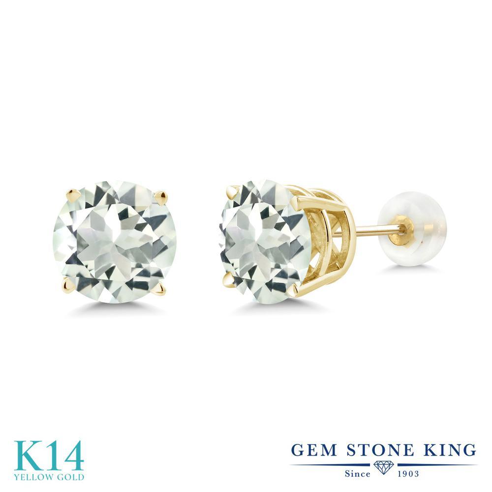 Gem Stone King 3.7カラット 天然 プラジオライト (グリーンアメジスト) 14金 イエローゴールド(K14) ピアス レディース 大粒 シンプル 天然石 金属アレルギー対応 誕生日プレゼント