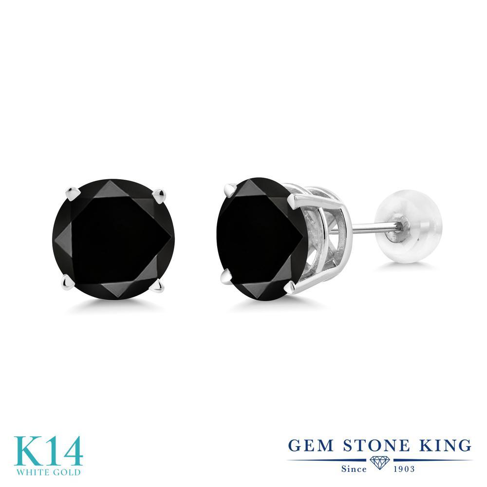 最新入荷 Gem Stone 14金 King 4.4カラット 天然ブラックダイヤモンド 14金 4.4カラット ホワイトゴールド(K14) ピアス レディース Stone 大粒 シンプル 天然石 誕生石 金属アレルギー対応 誕生日プレゼント, リサイクルショップエコスター:fa2e75ae --- spotlightonasia.com