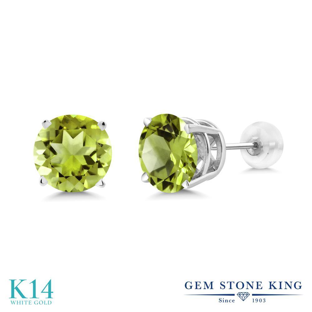 Gem Stone King 4.14カラット 天然石 ペリドット 14金 ホワイトゴールド(K14) ピアス レディース 大粒 シンプル 天然石 8月 誕生石 金属アレルギー対応 誕生日プレゼント