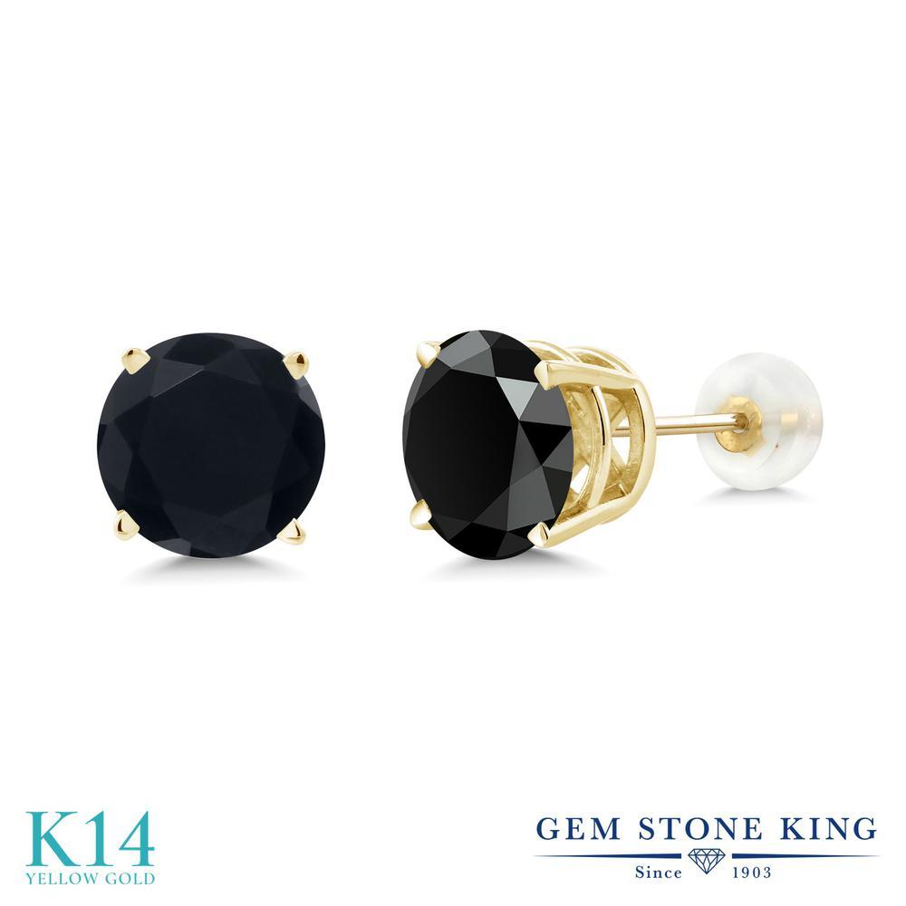 Gem Stone King 3.29カラット 天然 オニキス 14金 イエローゴールド(K14) ピアス レディース 大粒 シンプル 天然石 8月 誕生石 金属アレルギー対応 誕生日プレゼント