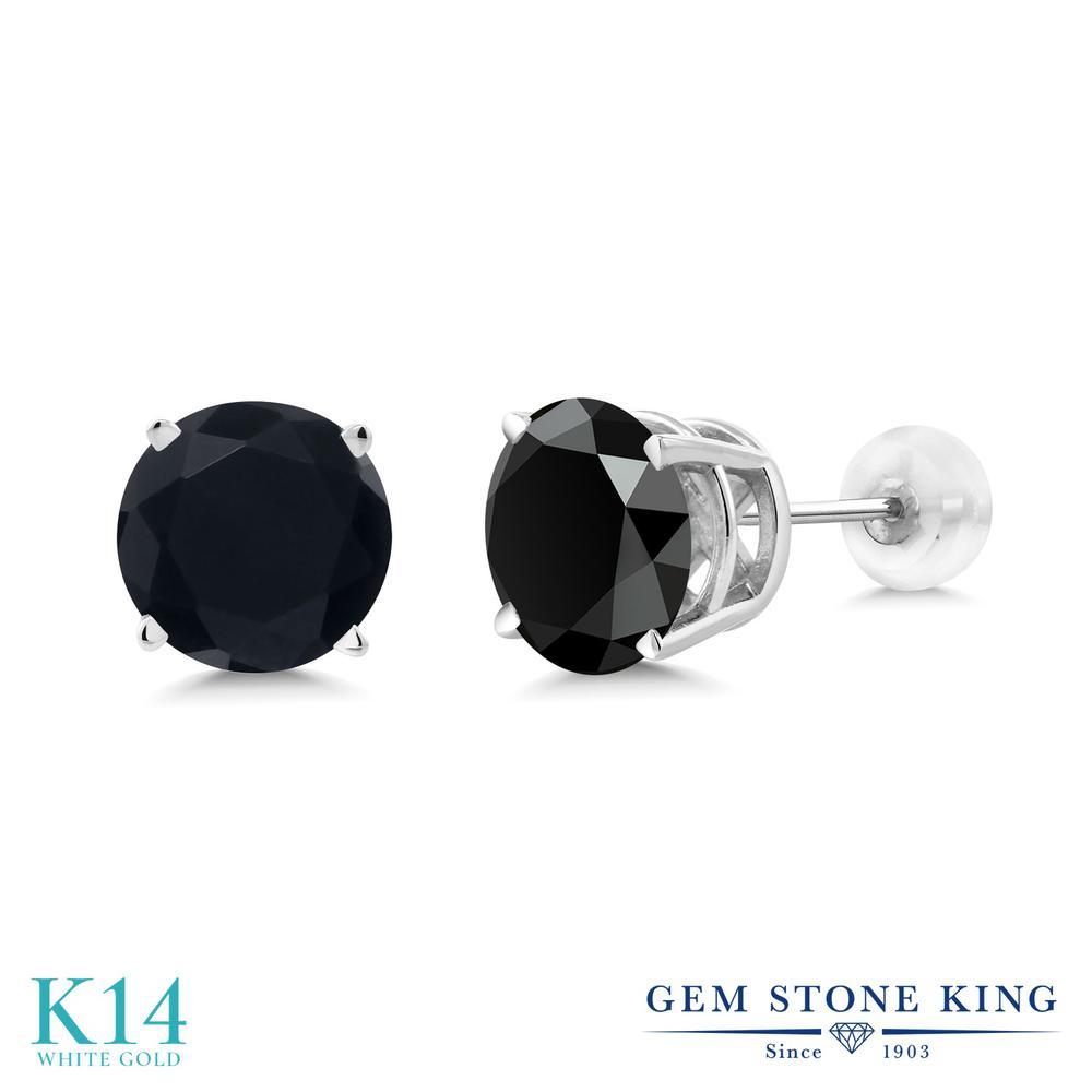 Gem Stone King 3.29カラット 天然 オニキス 14金 ホワイトゴールド(K14) ピアス レディース 大粒 シンプル 天然石 8月 誕生石 金属アレルギー対応 誕生日プレゼント