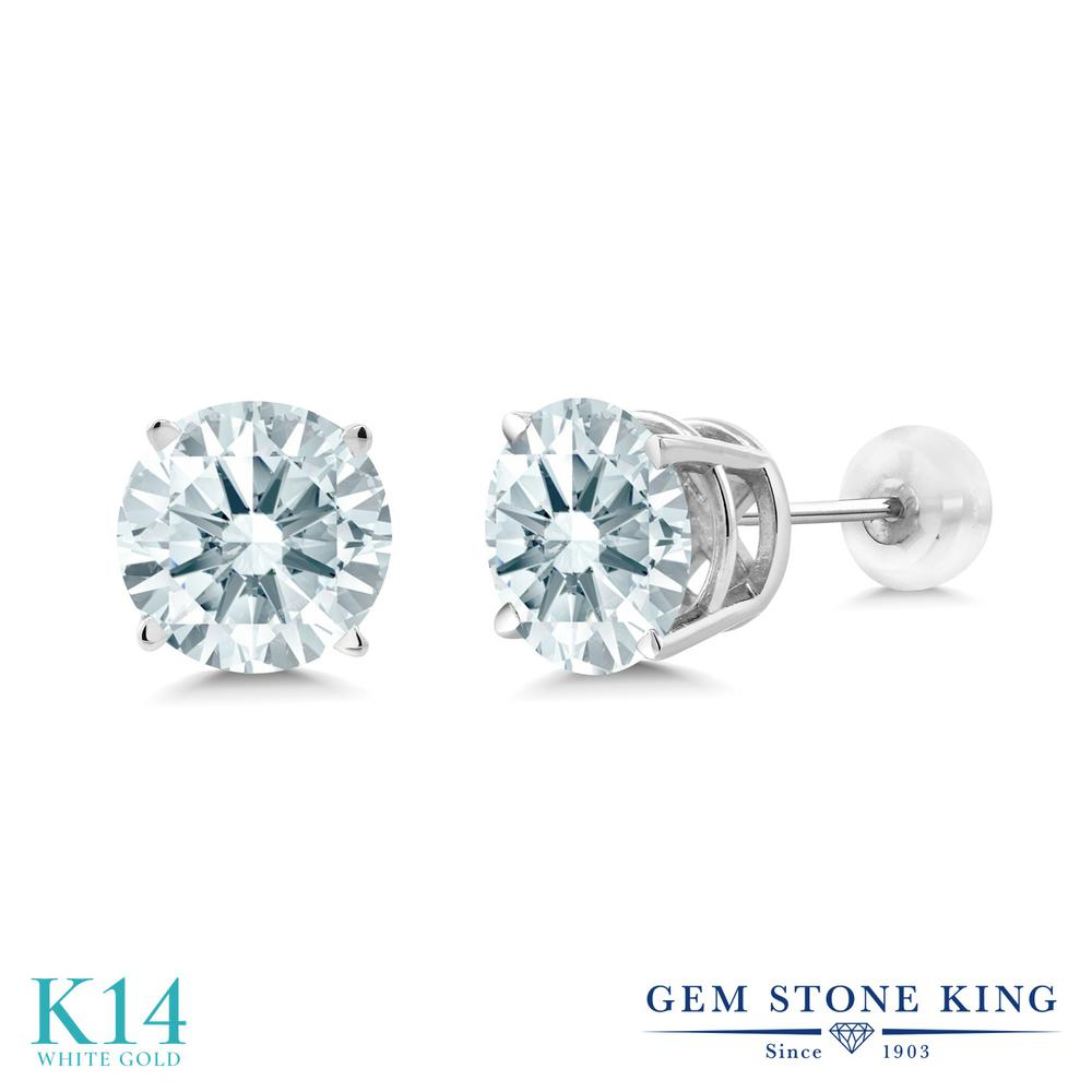 Gem Stone King スワロフスキージルコニア (無色透明) 14金 ホワイトゴールド(K14) ピアス レディース CZ 大粒 シンプル 金属アレルギー対応 誕生日プレゼント
