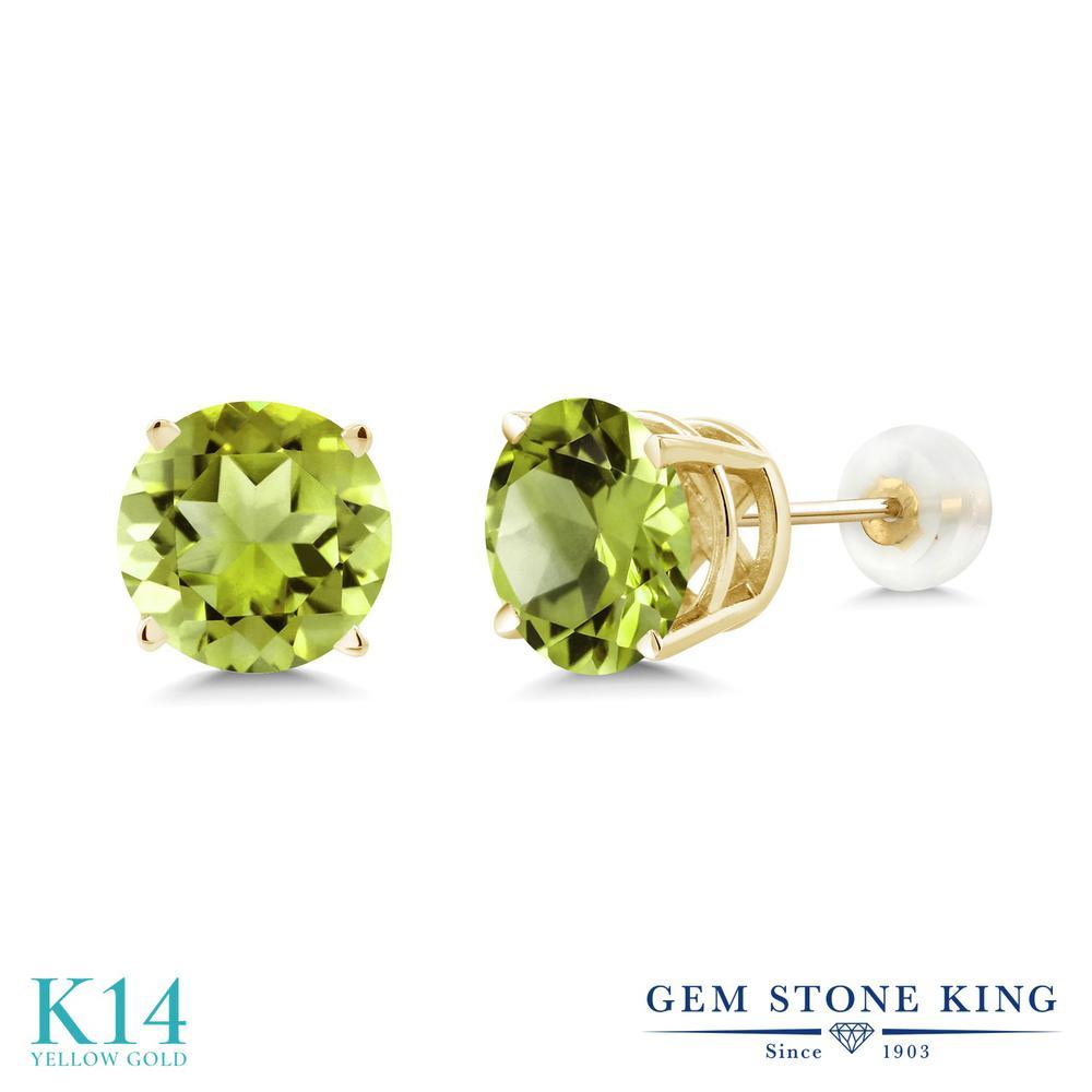 Gem Stone King 4.14カラット 天然石 ペリドット 14金 イエローゴールド(K14) ピアス レディース 大粒 シンプル 天然石 8月 誕生石 金属アレルギー対応 誕生日プレゼント