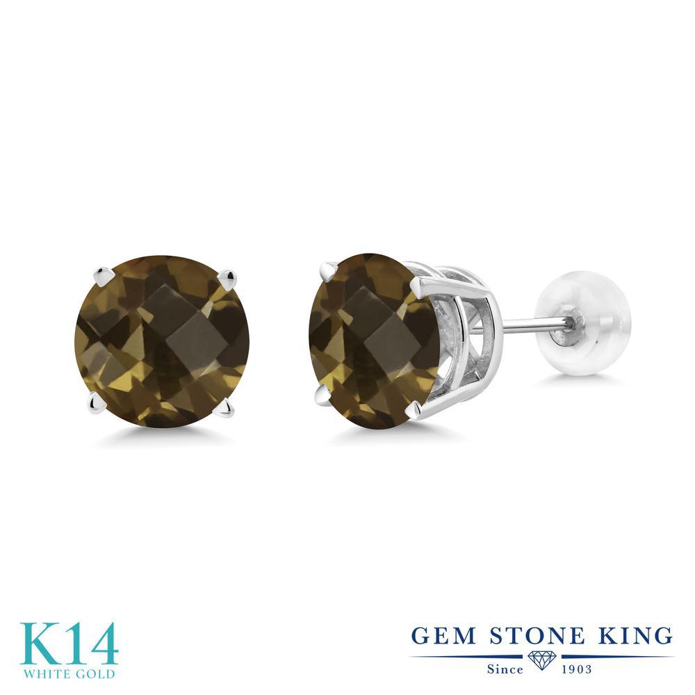 Gem Stone King 3.6カラット 天然 スモーキークォーツ (ブラウン) 14金 ホワイトゴールド(K14) ピアス レディース 大粒 シンプル 天然石 金属アレルギー対応 誕生日プレゼント