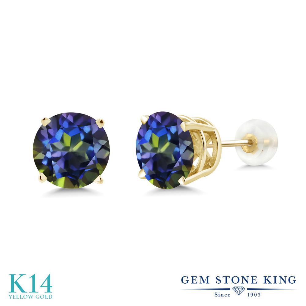 Gem Stone King 4カラット 天然石 ミスティックトパーズ (ブルー) 14金 イエローゴールド(K14) ピアス レディース 大粒 シンプル 天然石 金属アレルギー対応 誕生日プレゼント